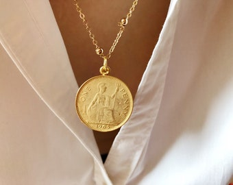 Necklace with rosary chain and brass coin pendant