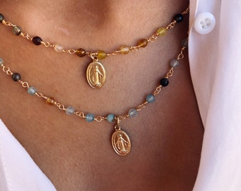 NEW COLORS - Necklaces with rosary chain with stones and madonnina pendant in silver or gold aluminum