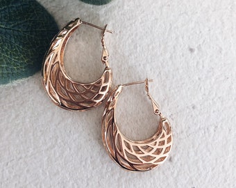 Earrings in rose gold brass