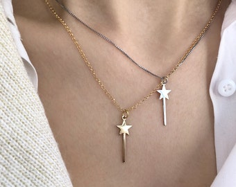 Necklace with smooth chain entirely in 925 silver with magic wand pendant