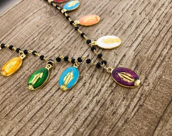 Necklace with brass rosary chain and enamelled madonnine pendants