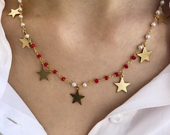 Christmas edition - Multi star necklace with rosary chain