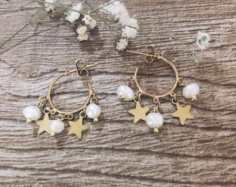 Gold brass bath hoop earrings with river beads and little stars