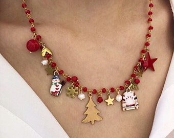 Christmas edition - Multicharm necklace with rosary chain and Christmas pendants