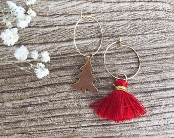 Christmas edition - Gold-plated brass hoop earrings, Christmas tree and cotton tassel