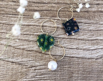 Gold-plated brass hoop earrings with Murano stones and river bead