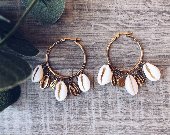 Featured listing image: Brass hoop earrings with hanging shells and sea-themed charm