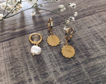 Brass mini hoop earrings with bead and zodiac sign