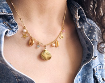 Multicharm necklace with brass chain and sea charm
