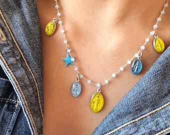 Necklace with rosary chain in brass, starlet and pendants Miraculous Madonna in light blue enamelled aluminum