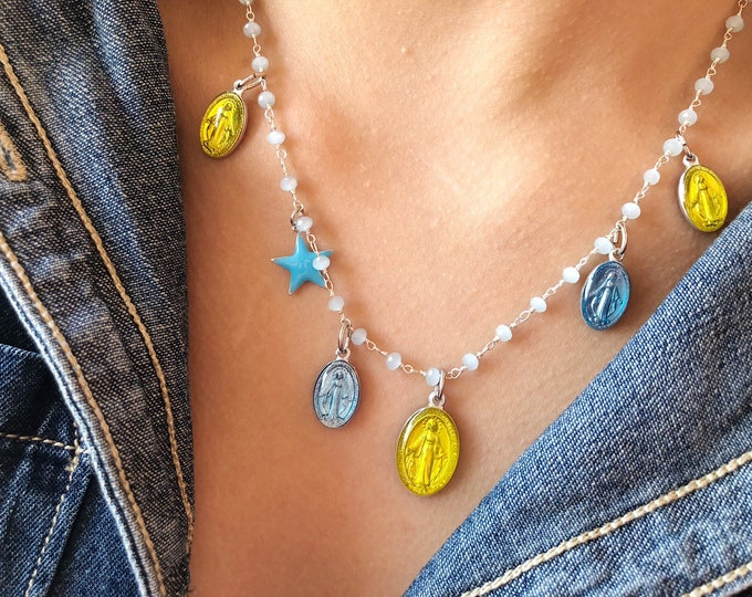 Featured listing image: Necklace with rosary chain in brass, starlet and pendants Miraculous Madonna in light blue enamelled aluminum