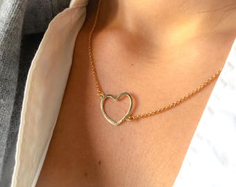 Necklace entirely in 925 silver with an open heart