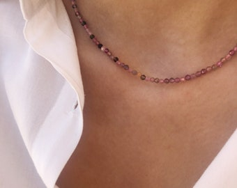 Choker necklace with pink tourmaline micro beads