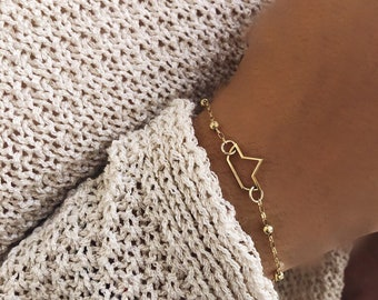 Limited Edition - Bracelet entirely in 925 silver bathed in 18k gold with a boat pendant