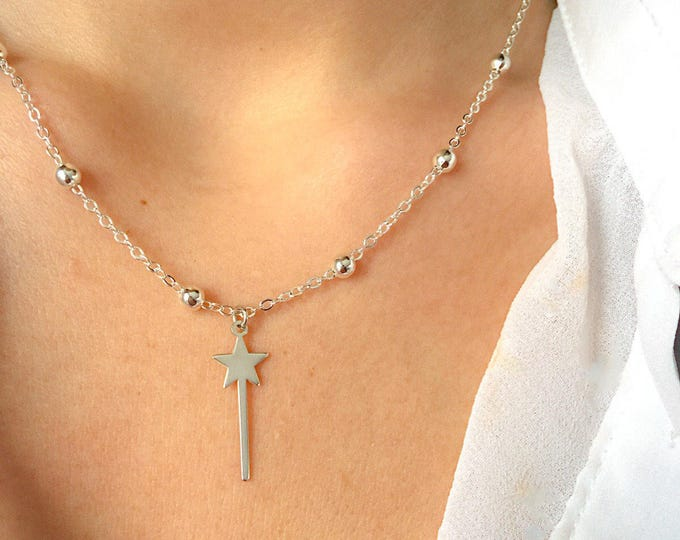 Featured listing image: Necklace with chain with aluminum beads and magic wand pendant in 925 silver