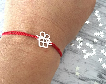 Christmas edition - Bracelet with nylon cord and pacchettino pendant in 925 silver