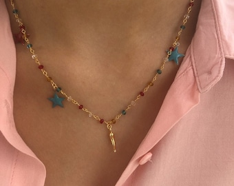 Rosary chain necklaces, enameled little stars and 925 silver bath gold horn