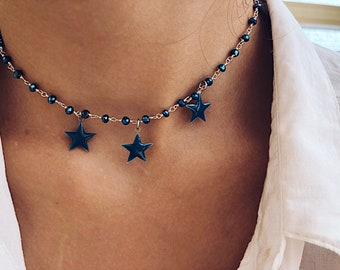 Necklace with rosary brass chain and glazed stars