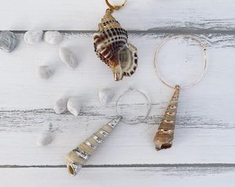 Mono brass hoop earrings with shell pendants
