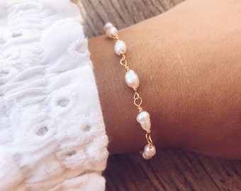 Bracelets with brass rosary chain and freshwater pearls