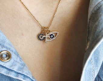 925 silver gold bath necklace with balls and pendants with cubic zirconia