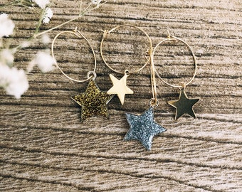 Christmas edition - Gold plated brass bathroom hoop earrings with glitter stars and golden stars