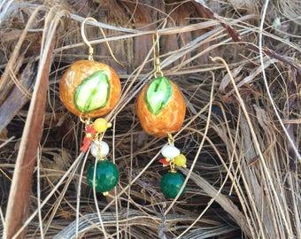 Sicilian Jewelry - Hand-painted Caltagirone Ceramic Orange Pendant Earrings