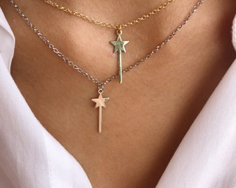 Necklace with chain entirely in 925 silver with magic wand pendant