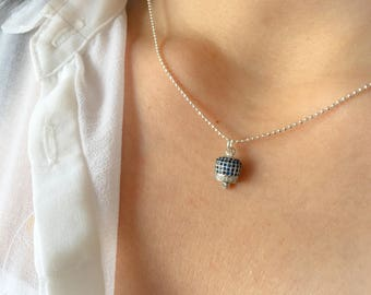 Necklace entirely made of 925 silver with bell pendant with cubic zirconia