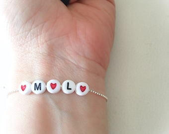 Entirely in 925 Silver bracelet with initial and red heart bead