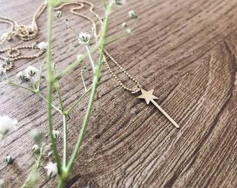 925 silver necklace with chain with balls and magic wand pendant