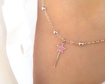 Necklace with chain with aluminum beads and magic wand pendant in 925 silver