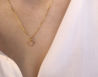 Necklace with smooth 925 silver chain with Swarovski heart pendant