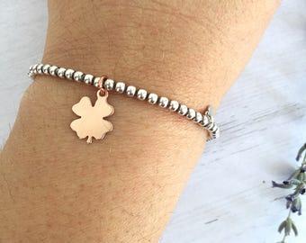925 silver bracelet with four leaf clover pendant