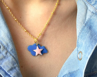 Necklaces with brass chain and enamelled cloud and star pendants