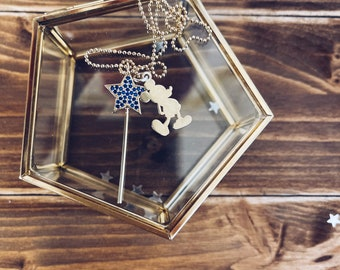 Necklace entirely in gold-plated 925 silver with Mickey Mouse pendant and maxi magic wand with zircons