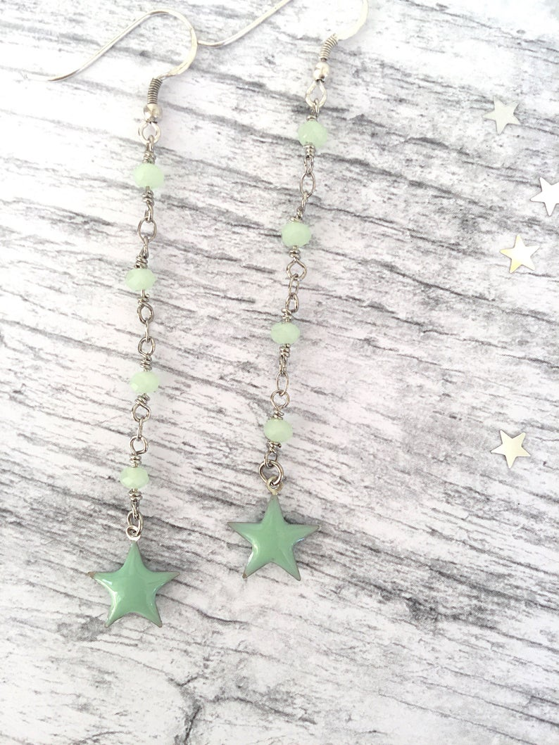 Earrings with brass rosary chain and enamelled star pendant