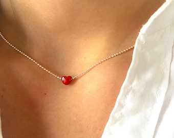 925 silver necklace with mini red heart
