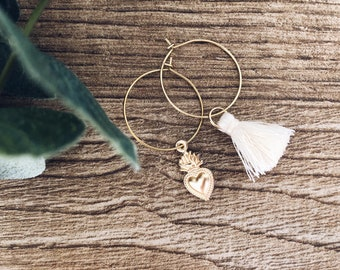 Brass hoop earrings with ex voto pendant and cotton tassel