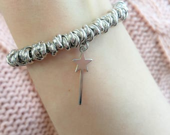 Bracelet with nodini in aluminum and magic wand in silver 925