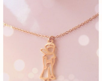 Silver necklace with gold pendant The Little Prince