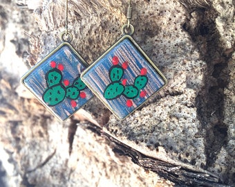 Sicilian Jewelry - Hand-painted Caltagirone ceramic tile earrings