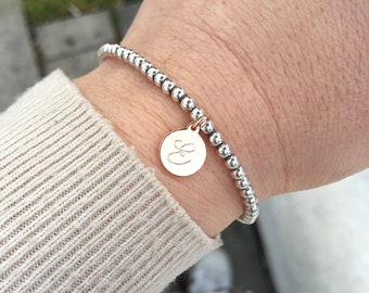 925 sterling silver bracelet with hand-engraved initials