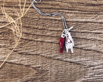 Necklace with chain in 925 silver and hand pendants with horns and enameled horn