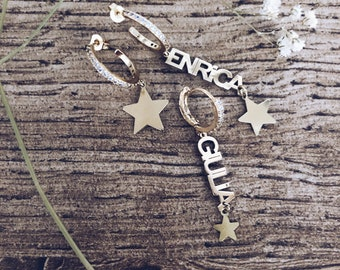 Gold-plated silver hoop earrings with cubic zirconia and name and star pendants