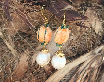Sicilian Jewelry - Hand-painted Caltagirone Ceramic Pomegranate Pendant Earrings