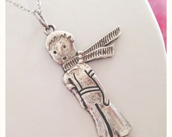"""Long necklace in silver plated brass pendant with """"The Little Prince"""""""