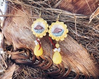 Sicilian Jewelry - Hand-painted Caltagirone Ceramic Pendant Earrings