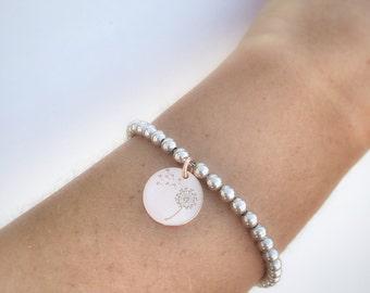 Entirely in 925 Silver Charm Bracelet Dandelion silver rose gold