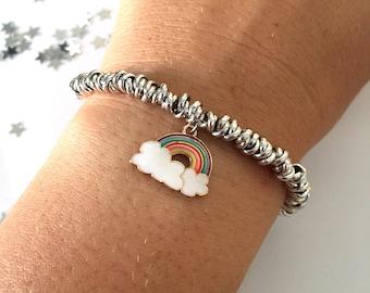 Bracelet with aluminum knot and enamel rainbow pendant